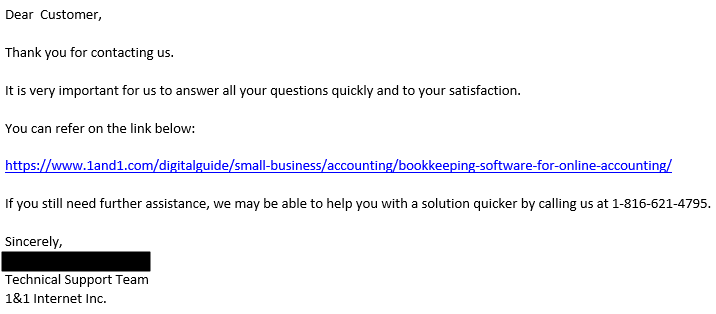Support via Email by 1&1 Online Accounting