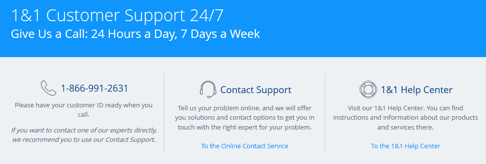Support Options for 1&1 Online Accounting