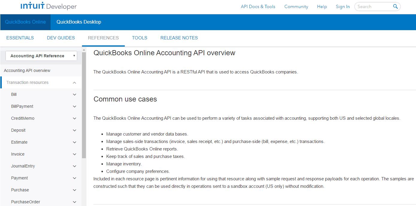 Intuit Developer API for QuickBooks