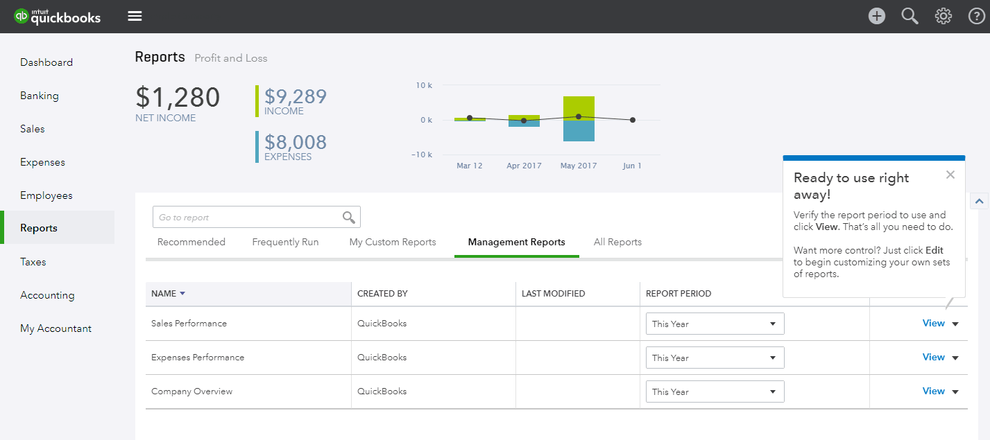 Business Reports in the QuickBooks Demo