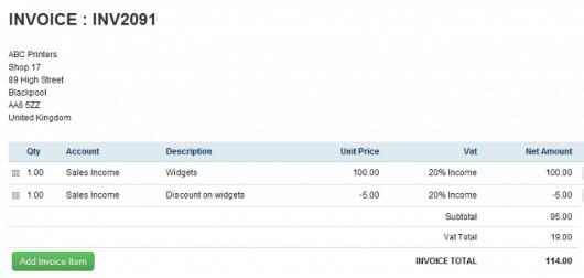 Screenshot of AccountsPortal's invoicing
