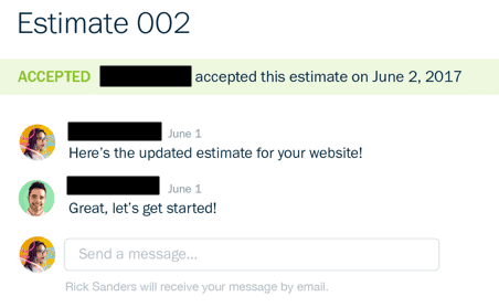 Chatting Feature for Estimates in FreshBooks