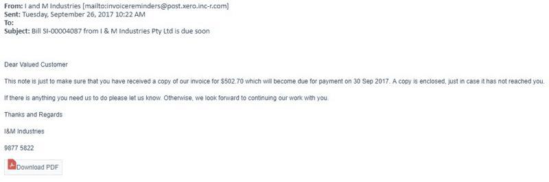 Phishing Attempt to Snatch Xero Data