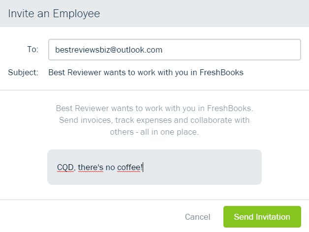 Inviting an Employee to FreshBooks