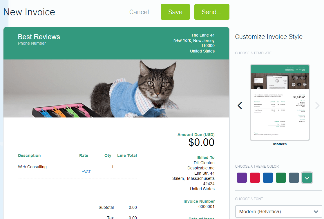 Invoice Customization in FreshBooks