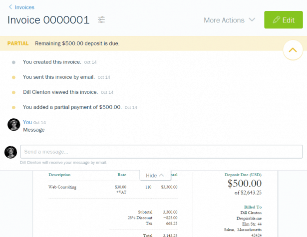 Invoice Info and Messaging in FreshBooks