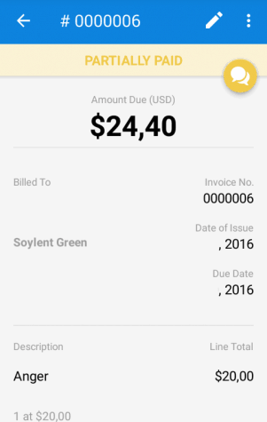 Invoice Preview in FreshBooks Android