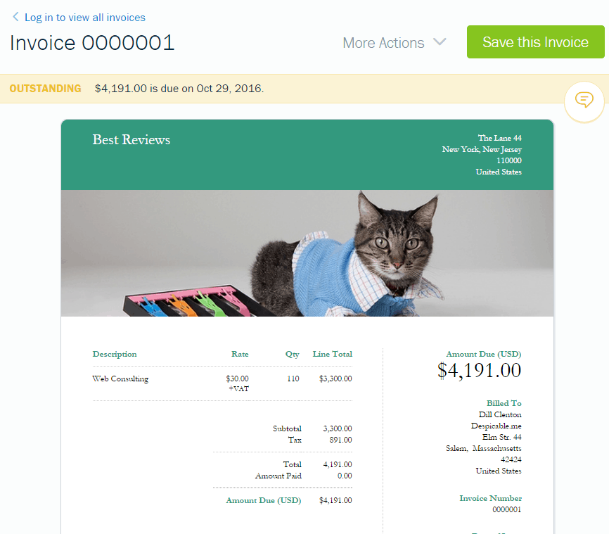 Invoice Preview in FreshBooks