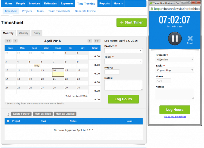 Time tracking in FreshBooks