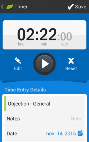 Time tracker in FreshBooks Application
