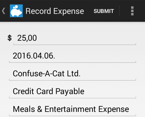 Expense recording in the Kashoo Android app