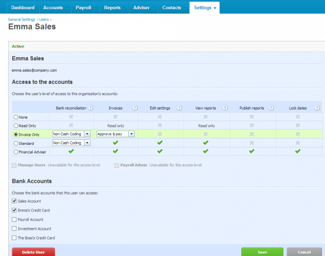 Setting up User Permissions in Xero