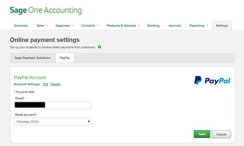 Connecting PayPal to Sage One