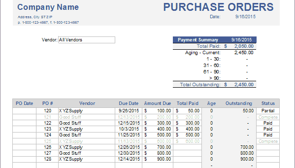advanced purchase order tracking with accounting software