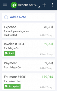 Dashboard of QuickBooks Online App