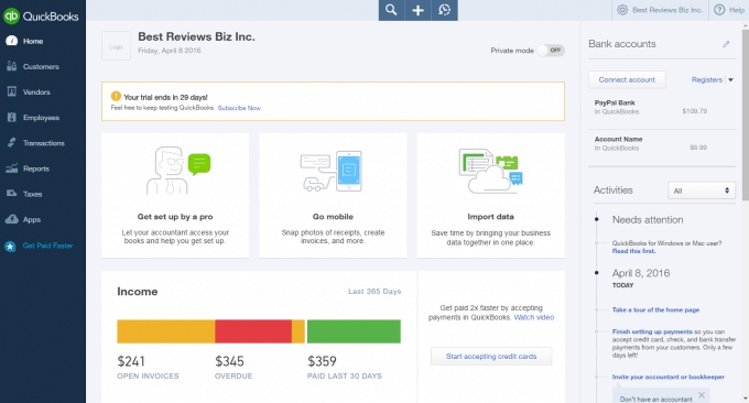 Dashboard of QuickBooks Online