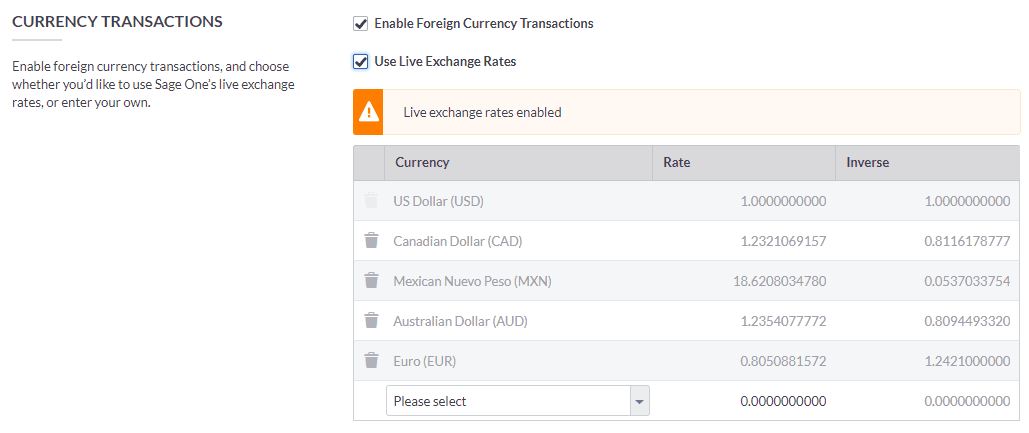 Setting up Foreign Currencies