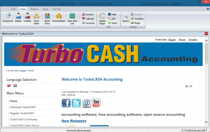 Start screen of TurboCASH