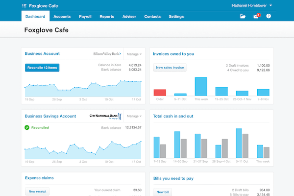 Xero accounting dashboard in desktop browser