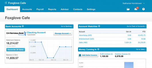 Bookkeeping dashboard in Xero's online software